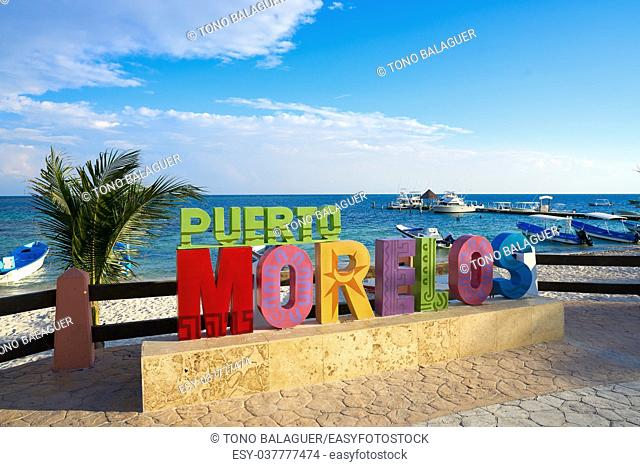 Puerto Morelos word sign in Mayan Riviera Maya of Mexico