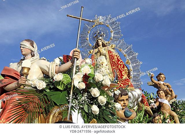 Procession of the Virgin of Our Lady of the Angels in the celebrations of Getafe, Madrid, Spain