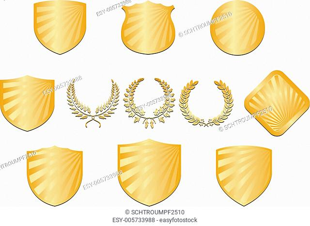 Collection of shields and wreaths