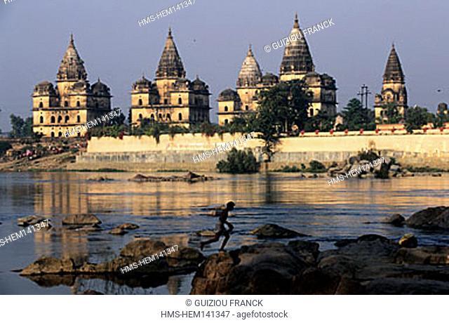 India, Madhya Pradesh State, Orchha, chhatri (tombs) on Betwa riverside
