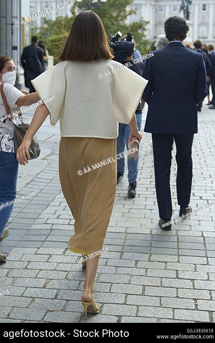 Sofia Palazuelo, Duchess of Huescar arrives 'Viva la Mamma' Opera at Royal Theatre on June 2, 2021 in Madrid, Spain