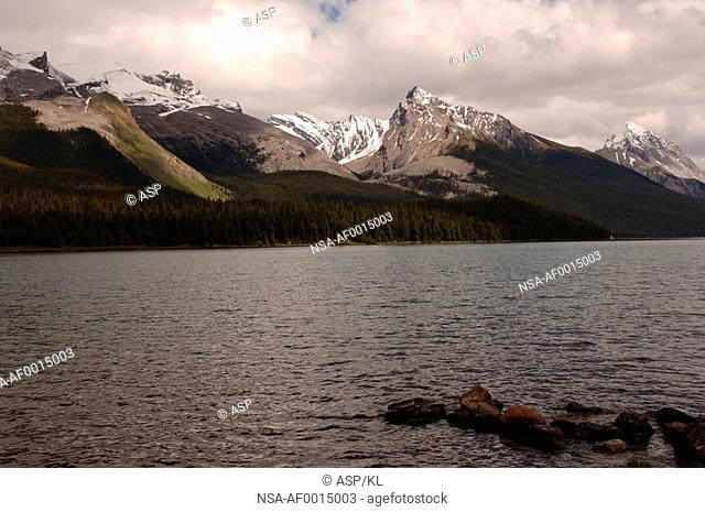 Maligne Lake with mountains in background, Jasper National Park