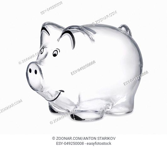 Transparent piggy bank isolated on white