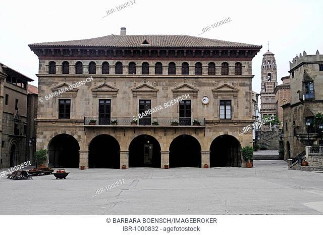 Placa Mayor, Poble Espanyol, Spanish village, open-air museum, Montjuic, Barcelona, Catalonia, Spain, Europe