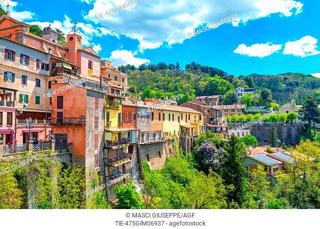 Italy, Nemi, panoramic view of the village overlooking the lake