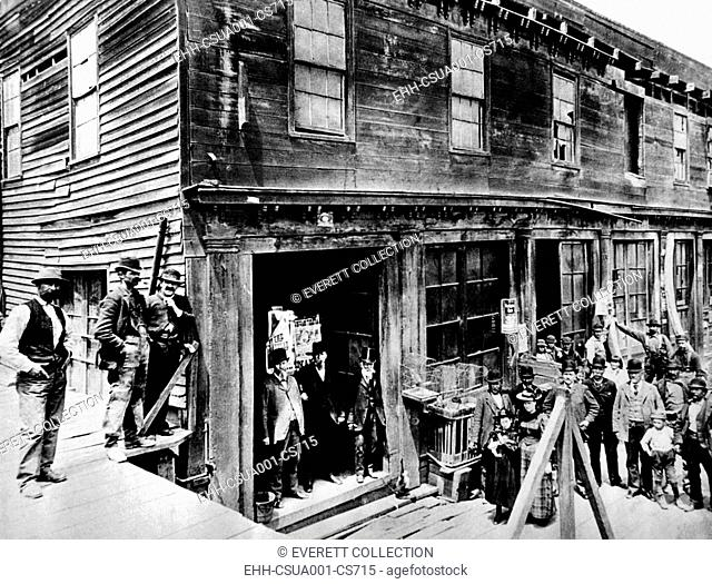 Abe Warner opened his saloon on Meigg's Wharf in 1856, and it soon was called the Cobweb Palace. He loved spiders, and allowed them for years to spin their webs