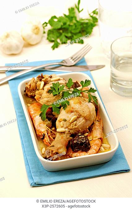 Chicken with shrimps