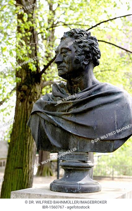 Bust of Friedrich Graf Kleist von Nollendorf (1762-1823) by Chr. Rauch, 1825, castle garden, Merseburg, Saxony-Anhalt, Germany, Europe