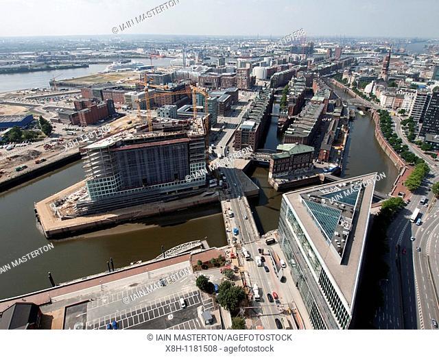 View over new massive property development at Hafencity in Hamburg Germany