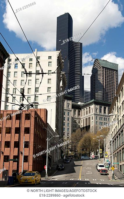 USA, WA, Seattle. Downtown Seattle showing older buildings with newer office towers in the background