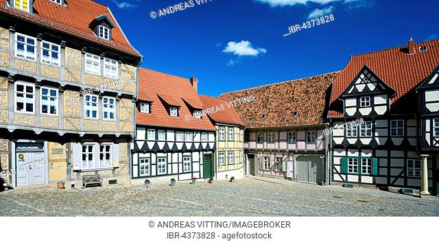 Timbered houses at Schlossberg, historic centre, UNESCO World Heritage, Quedlinburg, Saxony-Anhalt, Germany