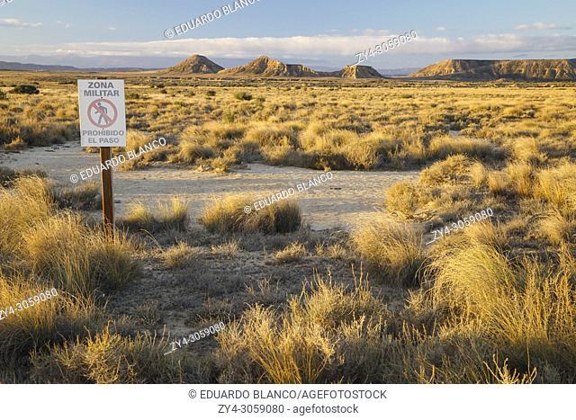 Military zone sign. No trespassing. Bardenas Reales Natural Park. Biosphere Reserve. Navarre. Spain