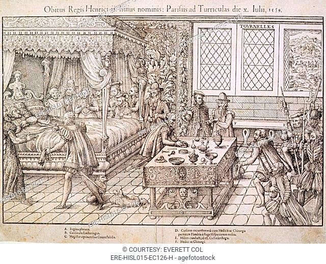 Henry II of France lies in bed surrounded by attendants after he was wounded while jousting during the celebration daughter's marriage to King Philip II of...
