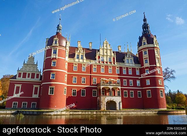 Neues Schloss, Fuerst-Pueckler-Park, Bad Muskau, Sachsen, Deutschland