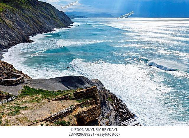 Summer ocean coastline view in Barrika town (Spain)