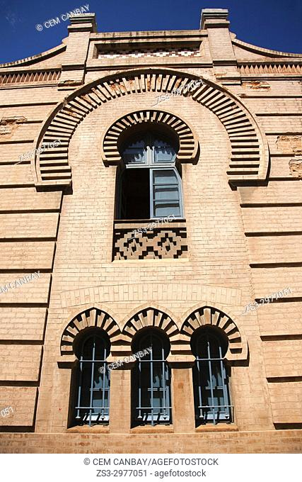 Window detail of the building of the Great Theatre Falla-Gran Teatro Falla at Fragela square, Cadiz City, Andalusia, Spain, Europe