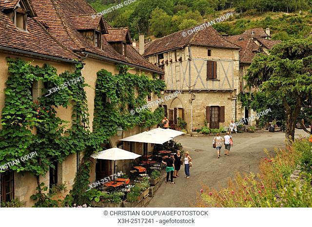 Auberge du Sombral, Saint-Cirq-Lapopie, one of the '' Plus Beaux Villages de France'' the most beautiful villages of France, Lot department
