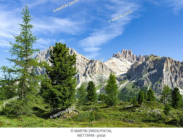 Dolomites at Falzarego mountain pass, Lagazuoi, Fanes and Monte Cavallo in nature park Fanes Sennes Prags, The Dolomites are part of the UNESCO world heritage