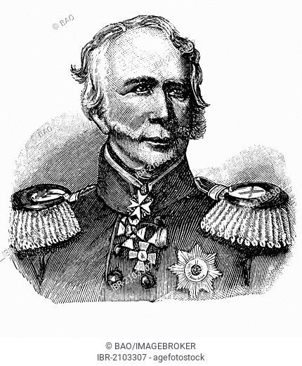 Leopold Hermann von Boyen, 1811 - 1886, a Prussian general of the infantry and governor of the fortress of Mainz and later of Berlin, wood engraving, about 1880