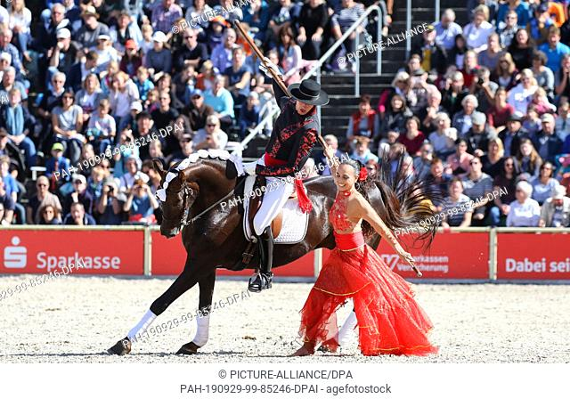 29 September 2019, Baden-Wuerttemberg, Gomadingen-Marbach: During the stallion parade 2019, a Spanish rider and a dancer will be on their way in the parcours in...