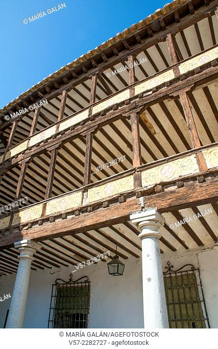 Main Square, close view. Tembleque, Toledo province, Castilla La Mancha, Spain