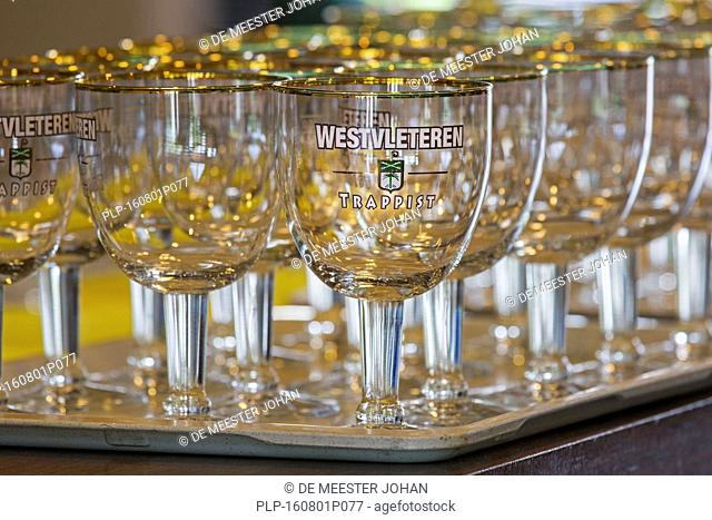 Tray with empty Trappist Westvleteren beer glasses in café