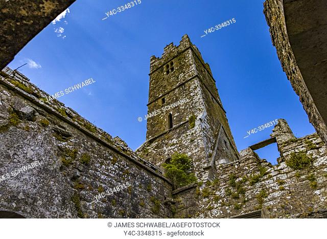 Ruins of Ross Errilly Friary in Headford Co. Galway founded 1351 AD one of the finest medieval Franciscan monasteries in Ireland