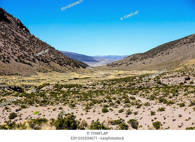 Landscape of an arid valley in the Andean highlands of Latin America