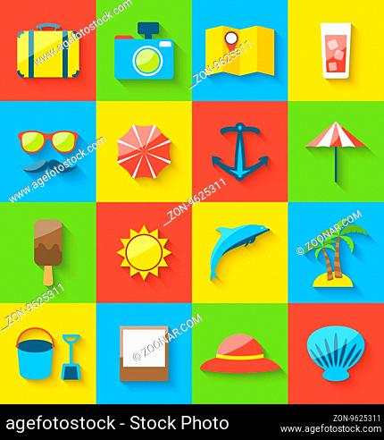 Illustration flat icons of holiday journey, summer pictogram, sea leisure, colorful simple icons with long shadow - vector