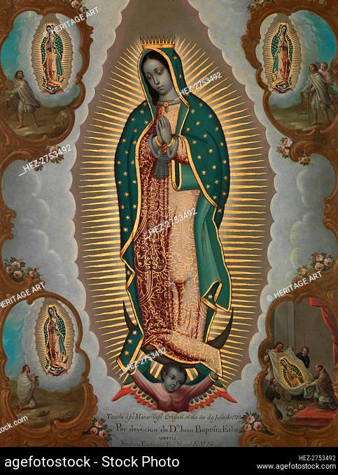 The Virgin of Guadalupe with the Four Apparitions, 1773. Creator: Nicolßs EnrÝquez