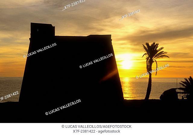 Macenas castle in Castillo de Macenas beach.Mojacar, Almeria province, Andalucia, Spain