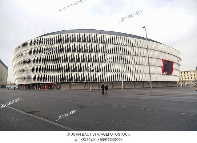 San Mames, football stadium, home of Athletic de Bilbao ,detail facade,Basque Country. Bilbao