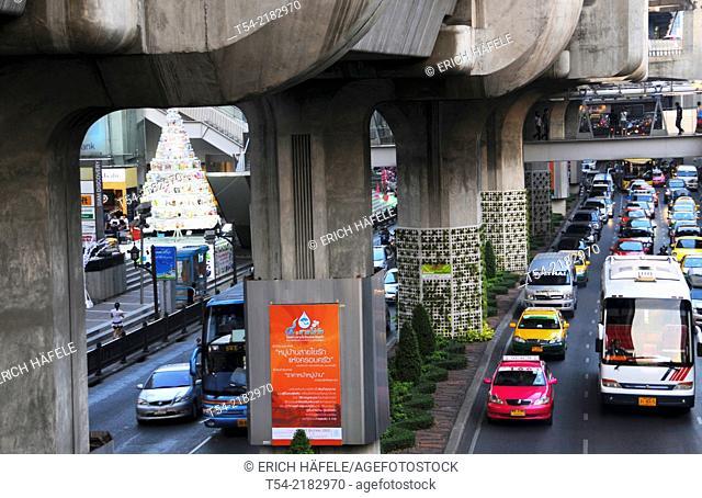 Concrete pillars of the Skytrain in Bangkok