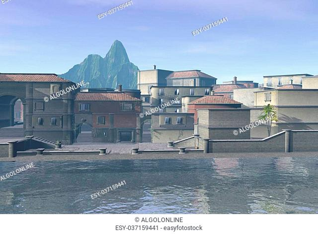 Quiet Mediterranean town seafront in the early morning, 3d digitally rendered illustration