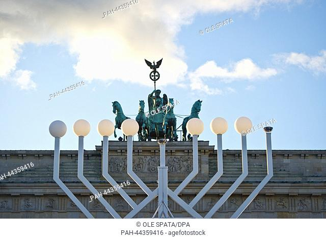 Europe's biggest Chanukka candle holder stands in front of the Brandenburg Gate in Berlin, Germany, 26 November 2013. On occasion of the eight-day Chanukka...