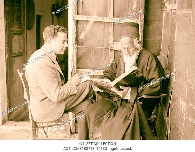 Rabbi Shlomo, speaking to Jacob Simon. 1934, Israel