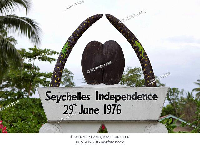 Monument of Independence, Grand Anse, Praslin Island, Seychelles, Africa, Indian Ocean