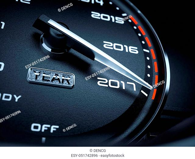 2017 year car speedometer countdown concept. 3d rendering illustration