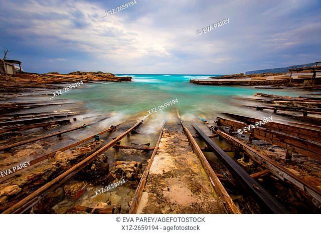 The pier of Es Caló de Sant Agustí. Formentera (Balearic Islands)