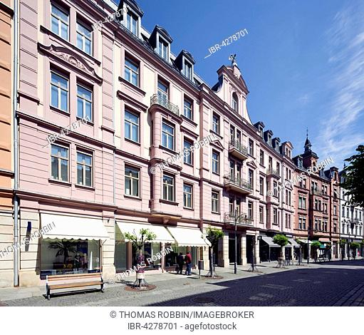 Gilitzerblock, residential and commercial buildings, neo-baroque and neo-renaissance, Münchener Straße, pedestrian zone, Rosenheim, Upper Bavaria, Bavaria