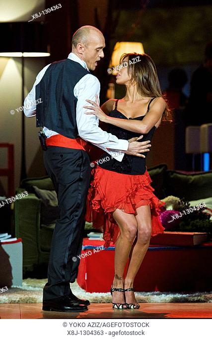 Kalispera telecast, Canale 5, Milan 2011 Alfonso Signorini and Belen Rodriguez