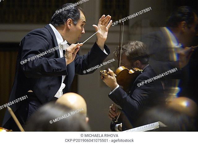 Russian principal conductor of the French Orchestre National du Capitole de Toulouse Tugan Sokhiev, left, and phenomenal French violinist Renaud Capucon, right