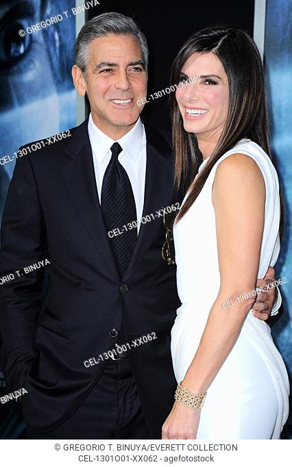 George Clooney, Sandra Bullock at arrivals for GRAVITY Premiere, AMC Lincoln Square Theater, New York, NY October 1, 2013. Photo By: Gregorio T