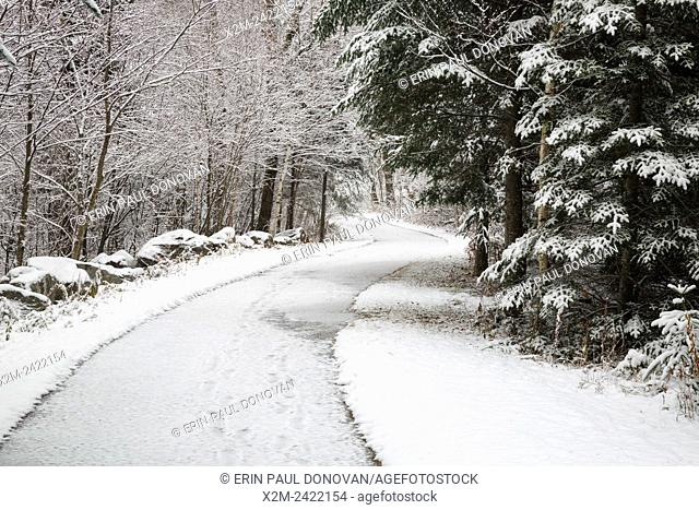 Franconia Notch State Park - Franconia Bike Path near Echo Lake in Franconia, New Hampshire USA during the autumn months after a dusting of snow