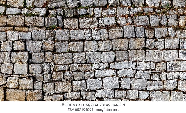Stone fence texture gray color decorative background