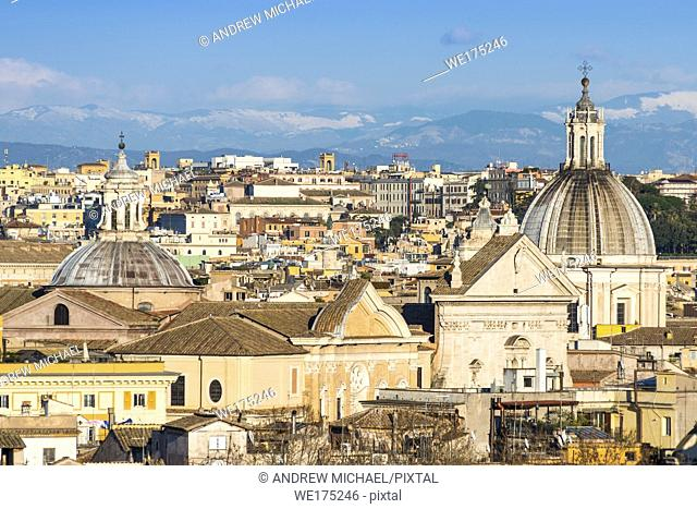 Historic Rome city skyline with domes and spires seen from Janiculum Terrace. Rome, Lazio, Italy