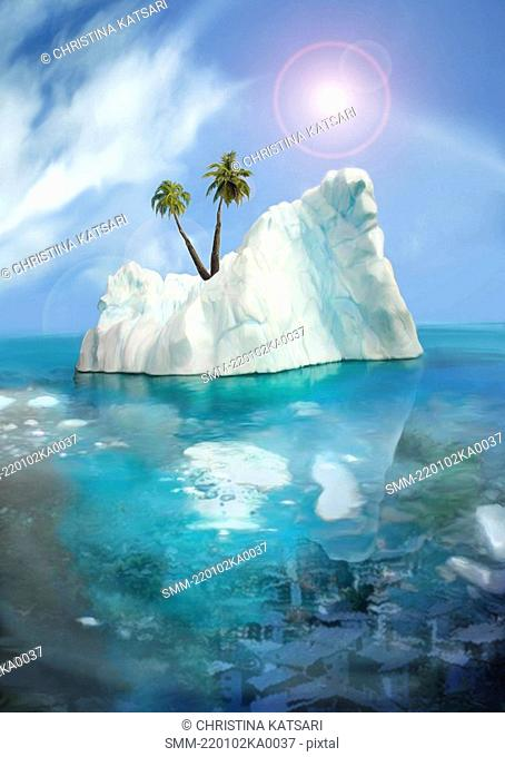 Palm trees on an iceberg