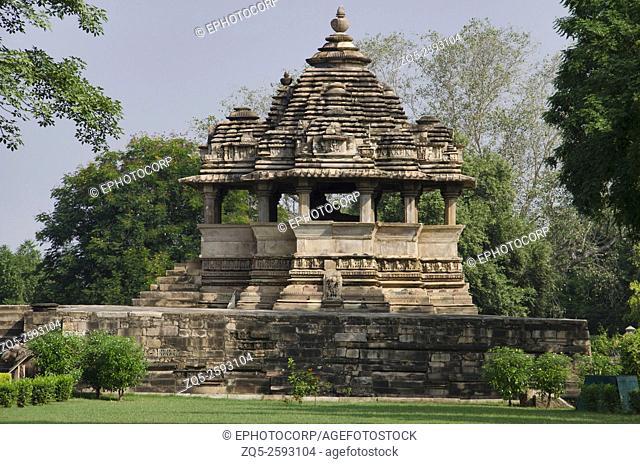 VISHWANATH TEMPLE: Facade - Nandi Shrine, Western Group, Khajuraho, Madhya Pradesh, India, UNESCO World Heritage Site