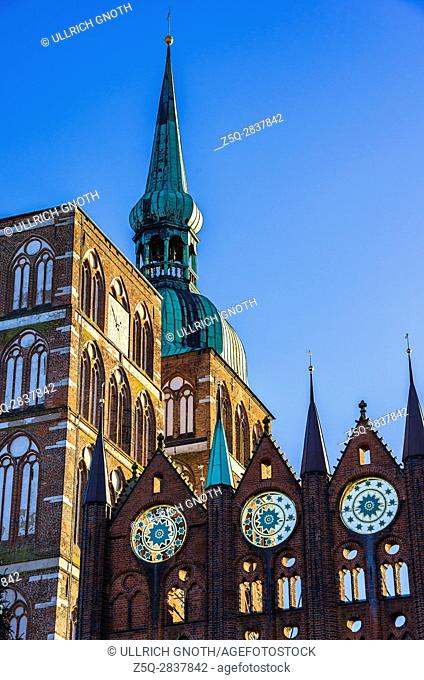 Old Town Hall and St. Nicholas' Church of Hanseatic City of Stralsund, Mecklenburg-Pomerania, Germany