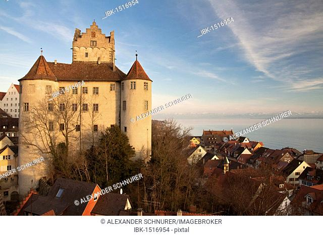 Castle in Meersburg on Lake Constance, in evening light, view of the upper lake, Baden-Wuerttemberg, Germany, Europe